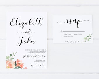 Watercolor Wedding Invitations, Printable Wedding Invitations, Wedding Invitations, Invitation Suite, DIY Wedding Invitations, Invitations