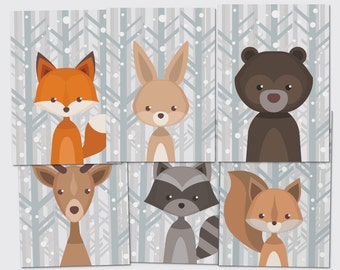Forest animals set folding postcard - greeting card