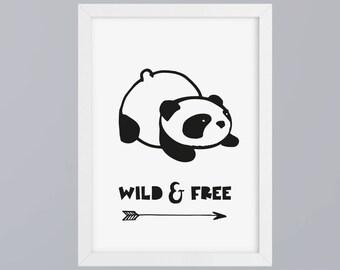 Panda - wild & free - unframed art print