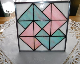 Pink and Aqua Card Trick Stained Glass Quilt Block/Glass Quilt Suncatcher