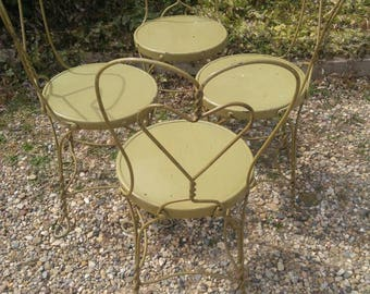 Vintage Set of 4 Ice Cream Parlor Chairs (Priced as a set, as in for all 4)