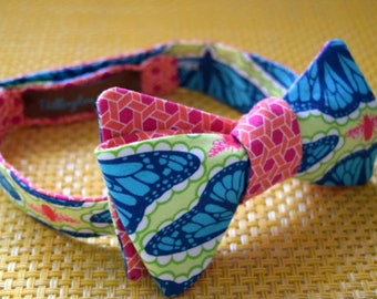 Butterfly/Orange Pink Pattern Bow Tie