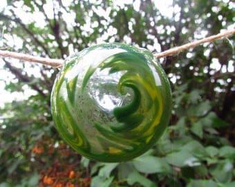 Green Wigwag Disk Hand Blown Glass Pendant