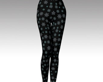Snowflake Leggings, Black Legging, Snowflake Capris, Black Capris, Activewear, Printed Legging, Women Legging, Running Legging, Yoga Legging