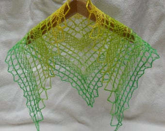 yellow to green ombre hand dyed, hand knit lacy shawl for 18 inch (A G) doll