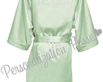 Bridesmaid Robe, Bridal Robe, Bridal Party Robe, Custom Robe, Rhinestone Embellished Sage Satin Robe, Personalized Bridal Robe, Epic SALE