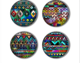 Native American style magnets or pins, Indian patterns, refrigerator magnets, fridge magnets, office magnets