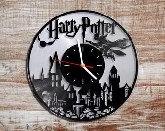 Harry Potter vinyl wall clock. Silver record