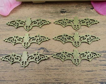 6 Large Bat Charms,Antique Bronze Tone Double Sided-RS392