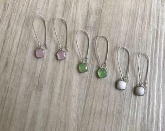 Glass Pendant Kidney Earrings