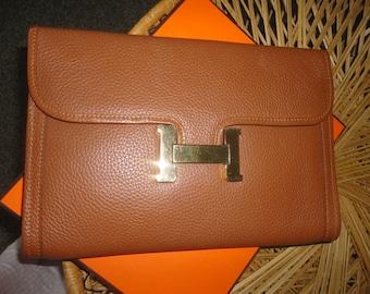 HERMES  Leather Clutch 11 1/2 x 8 1/4 x 1