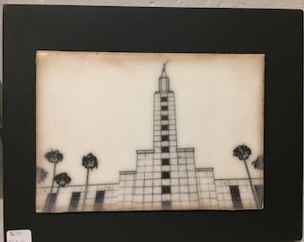 Modern Los  Angeles temple. Encaustic beeswax painting, original painting.