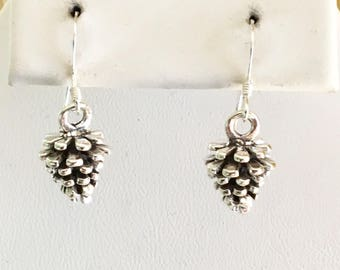 Sterling Silver Pine Cone Earrings