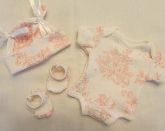 "9-10"" Girls Pink Toile Cherubs and Roses Bodysuit Set ~ Baby Doll OOAK Sculpt Reborn Clothes ~ Shabbey"
