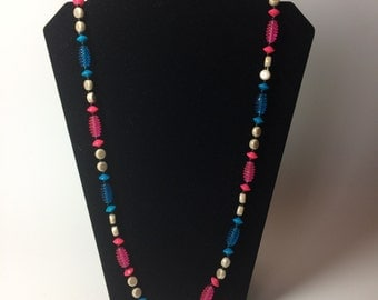 Vintage Long pink blue white black beaded necklace