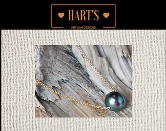Black Pearl 14K Pendant Necklace