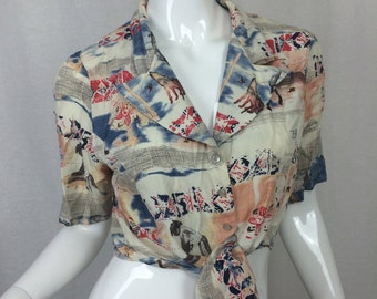 Southwest New Mexico Arizona Button and Tie Front Shirt  Desert West By Sherry Holt Cactus Top Crop Top