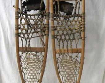 Antique Vintage Handmade Lund Wood and Leather Snowshoes.  These are for decorative purposes only.