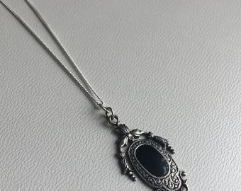 Onyx & Marcasite sterling silver pendant Art Deco Vintage Style