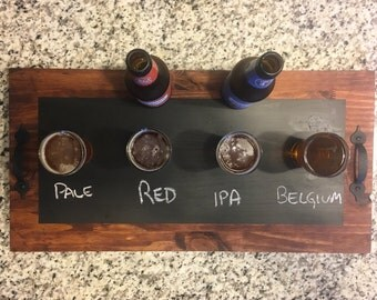 Beer Flight Tray / Chalkboard Tray / Serving Tray / Beer Serving Tray