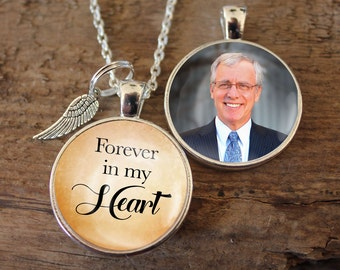 Forever in our heart, with Angel Wing, Memorial, Pendant, Necklace, Double Sided Charm, Memory Charm, Remembrance