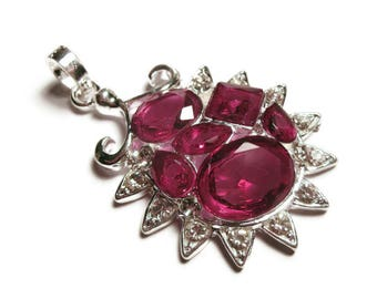 Violet Pink Fuschia Pendant / Glass Crystal Rhinestone / Silver Plated Large Fashion Statement Necklace Pendant / Pink Lover Gifts Under 5
