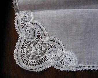 Antique silk handkerchief, Brussels handmade handmade ... approx. 1930!