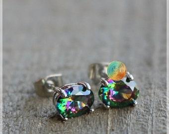 Mystic Topaz Earrings,Green Mystical Topaz Studs,Topaz Stud Earrings,Gemstone Studs,Stone Earrings,Sterling Silver earrings,Rainbow topaz