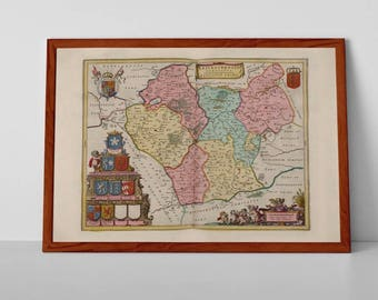 A map of Leicestershire | Fine Art Giclée Reproduction | Old Map of Leicester, from Theatrum Orbis Terrarum, Novus Atlas, Antique Map of UK