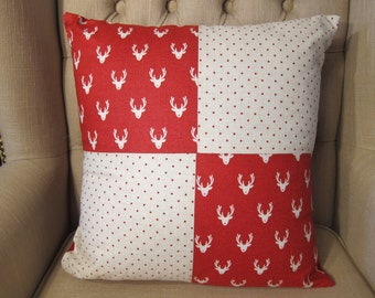 Red and cream reindeer cushion cover with pad