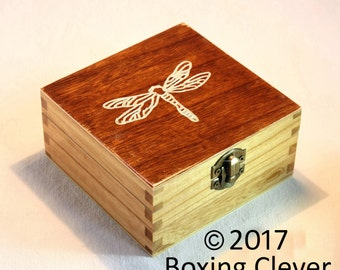 Dragonfly Jewellery Box - Hand Engraved Design with Stained Finish - 3 Different Sizes-  Keepsake/Trinket/Jewelry FREE DELIVERY UK