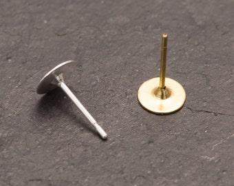 Flat backed earrings, flat pad earrings, pierced earrings, pierced ears, silver plated studs, jewellery making