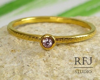 GF Dainty Textured Lab Pink Diamond Ring, 24K Yellow Gold Plated Pink 2 mm Cubic Zirconia April Birthstone Ring, Stackable Gold Pink CZ Ring