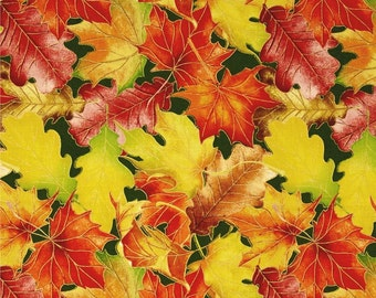 "Leaves Fabric: Harvest Bounty Leaf Packed Metallic Green by Quilting Treasures 100% cotton fabric by the yard 36""x43"" (N643)"