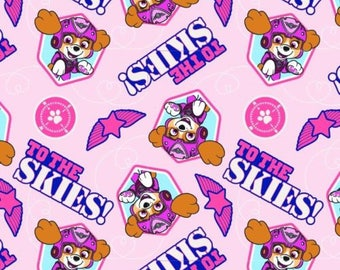 Nickelodeon Cartoon Fabric: Paw Patrol To The Rescue Puppies Characters Pup to the Skies Pink 100% cotton Fabric (DA7)