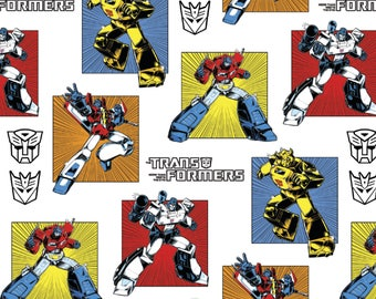 IN STOCK Cartoon Fabric, Transformers Fabric: Hasbro Transformers Robots Generations Classic White 100% cotton fabric ( SC371)