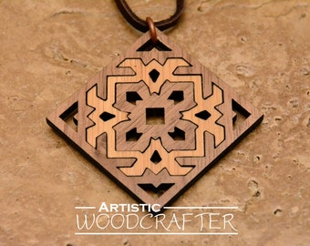 Wooden Geometric Pendant (Bamboo/Walnut)
