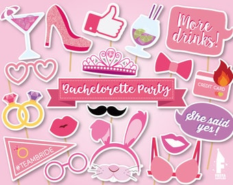 Printable Bachelorette Photo Booth Props Bridal Shower Photobooth Bride To Be
