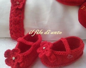 Baby shoes and baby red wool headband