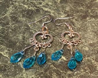 Aqua teardrop crystal earrings