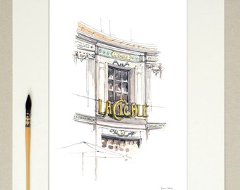 Watercolor Nantes - La Cigale - signed reproduction and appear