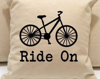 Ride On Bike Pillow, Ride On Bicycle Pillow, novelty throw pillow, pillow gift, bike gift, urban bike pillow, modern home decor