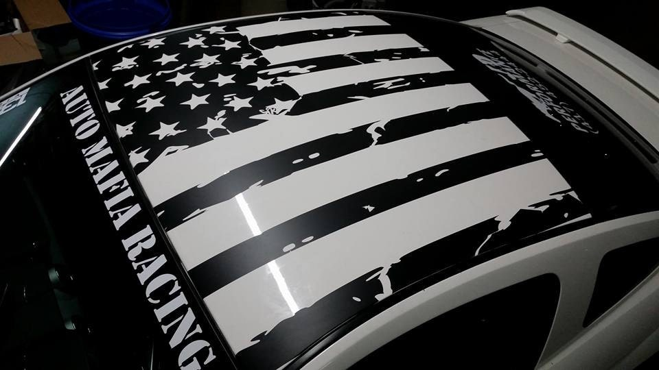 Mustang Roof Distressed Flag Decal Merica