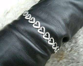 White Gold Heart Link Bracelet Heart Charm 10K Gift for Her Gifts for Her Gift for Girlfriend Gift for Mother's Day