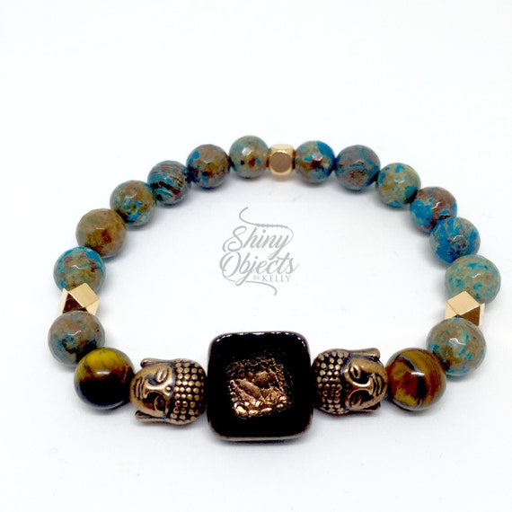 Jasper, Rose Gold and Czech Glass Buddha Bracelet