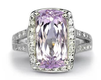 8.40 Carat Natural Pink Kunzite Ring With Zircon in 925 Sterling Silver