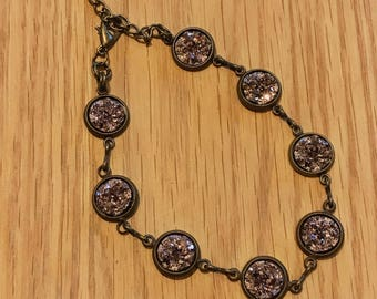Rose Gold Druzy Bracelet - Druzy - Rose Gold Bracelet - Rose Gold Jewelry - Bracelet - Rose Gold - Anklet - Adjustable Bracelets - Drusy -