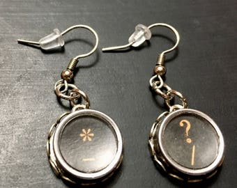 Typewriter earrings, vintage typewriter earrings, typewriter key earrings.