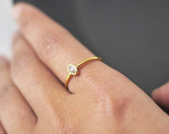 Herkimer Diamond Ring Gold | Dainty Rings | Ring For Girlfriend | Delicate Rings | Stacking Rings | Boho Ring | Rings With Stones | Rings