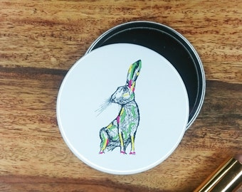 Hare 76mm Pocket Mirror art print illustration woodland countryside ink chic